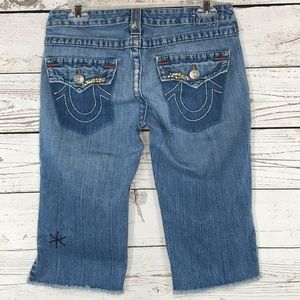 True Religion TRBJ Shorts Beaded Distress Raw Hem